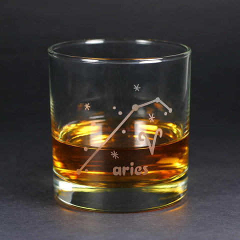 Aries Zodiac Constellation Lowball Glass