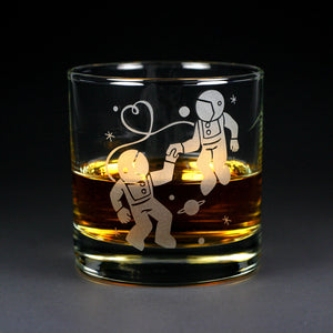 astronauts in love, etched lowball glass