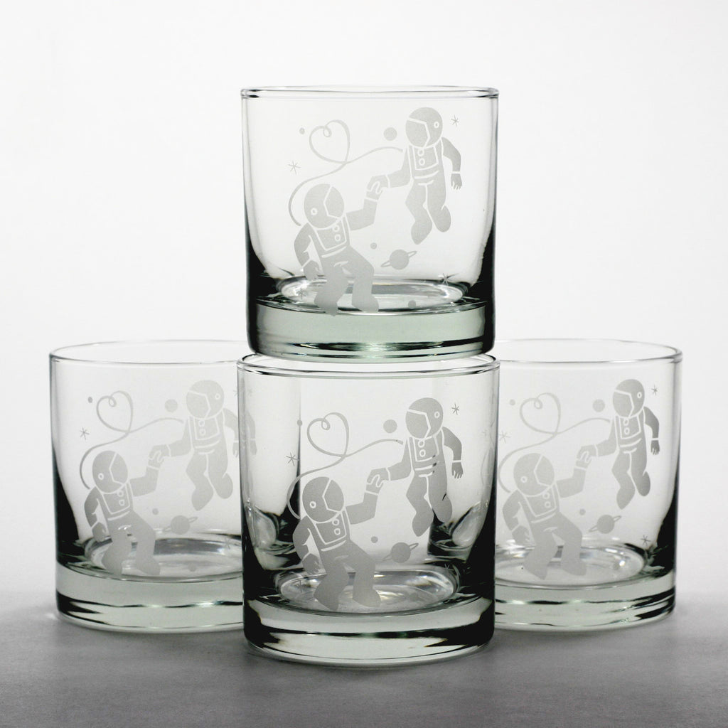 set of 4 astronaut love lowball glasses