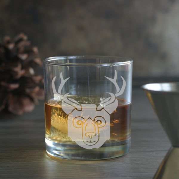 Bear with Deer Antlers lowball glass
