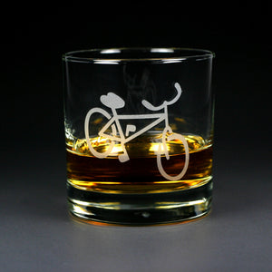 Bicycle etched lowball glass