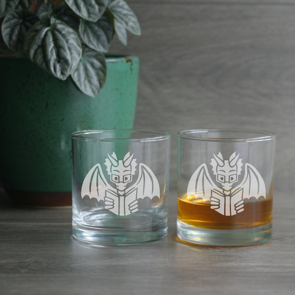 Book Dragon engraved lowball glasses