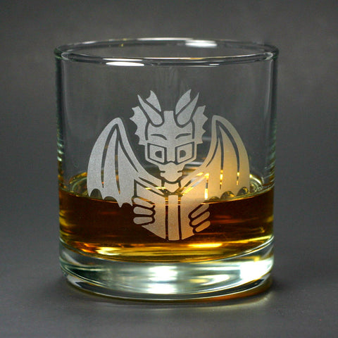 Book Dragon reading lowball glass for scotch whiskey