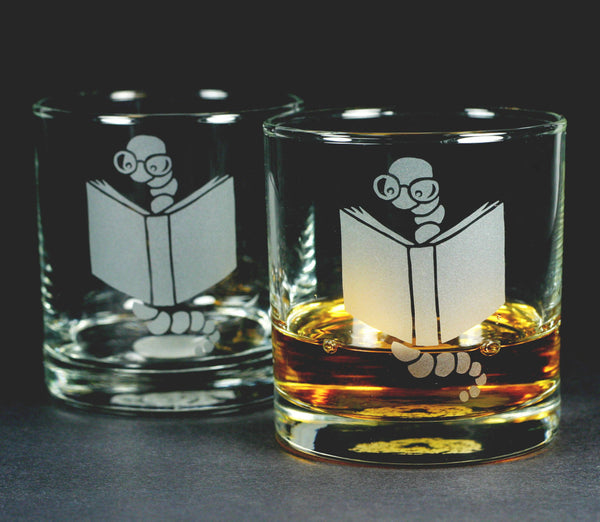 Bookworm lowball glasses by Bread and Badger