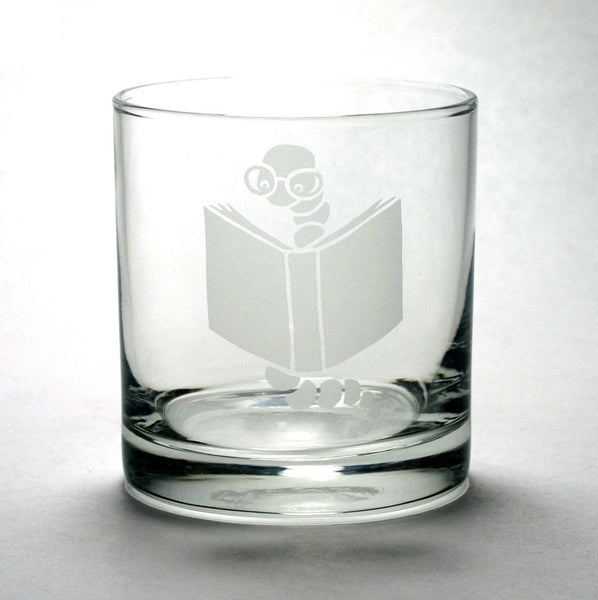 bookworm lowball whiskey glass by Bread and Badger