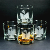 Book worm lowball glass set of 4 by Bread and Badger