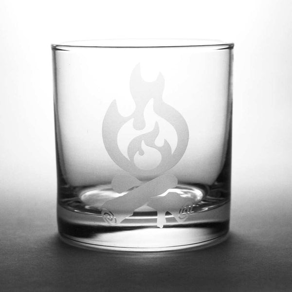 Campfire etched whiskey glass