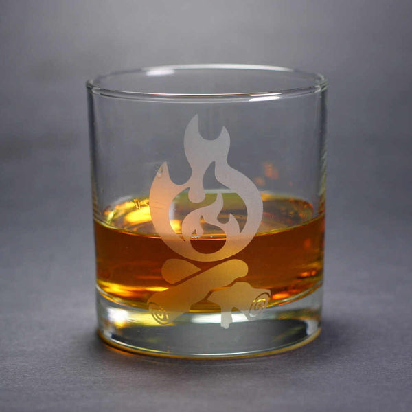 Campfire lowball whiskey glass