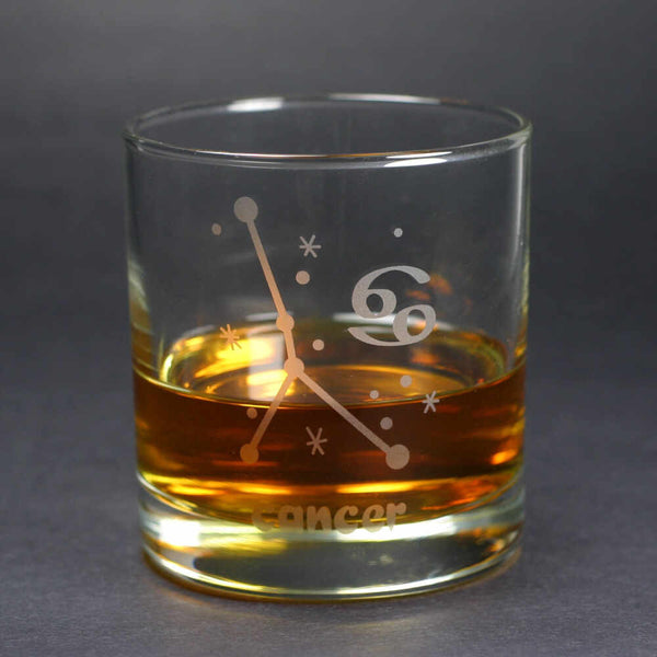 cancer zodiac lowball glass by Bread and Badger