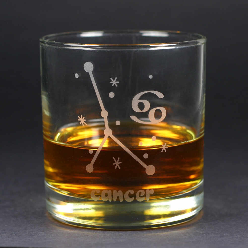 cancer constellation lowball glass by Bread and Badger