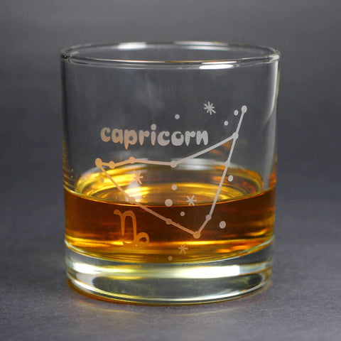 capricorn constellation lowball glass by Bread and Badger