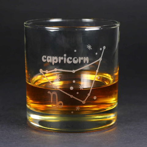 capricorn zodiac lowball glass by Bread and Badger