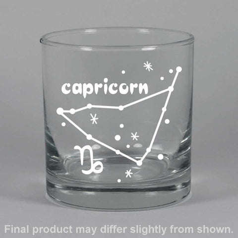 capricorn constellation lowball glass, by Bread and Badger