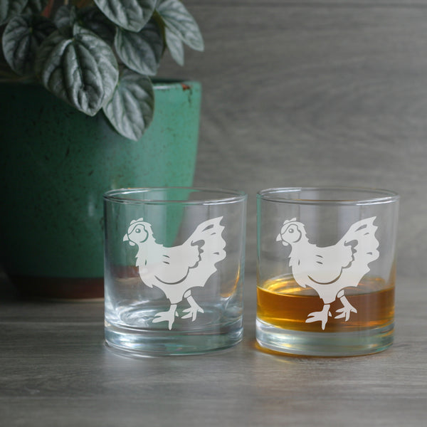 Hen etched lowball glasses