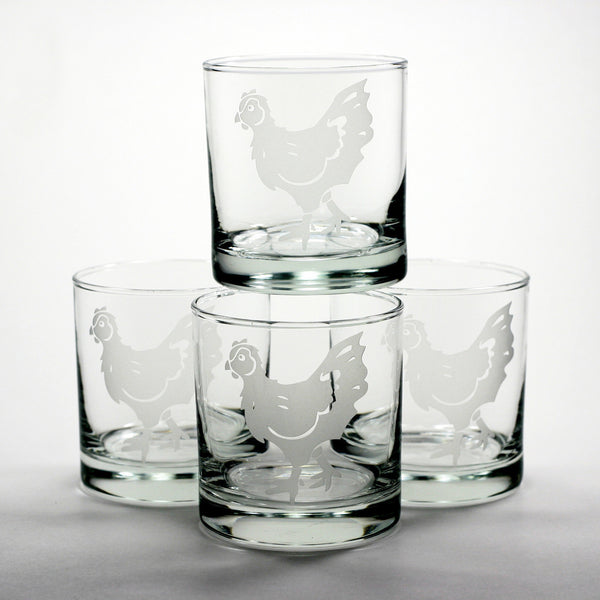 chicken hen whiskey glasses