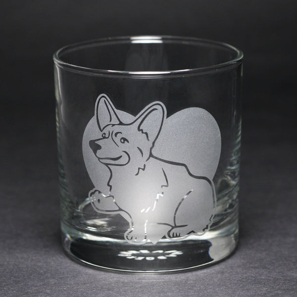 Corgi etched lowball glass by Bread and Badger