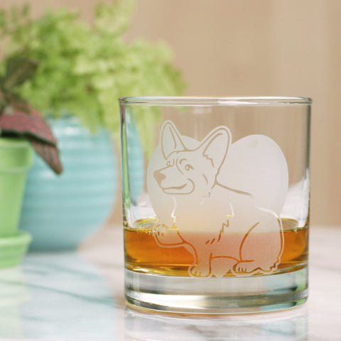 Corgi etched lowball glass