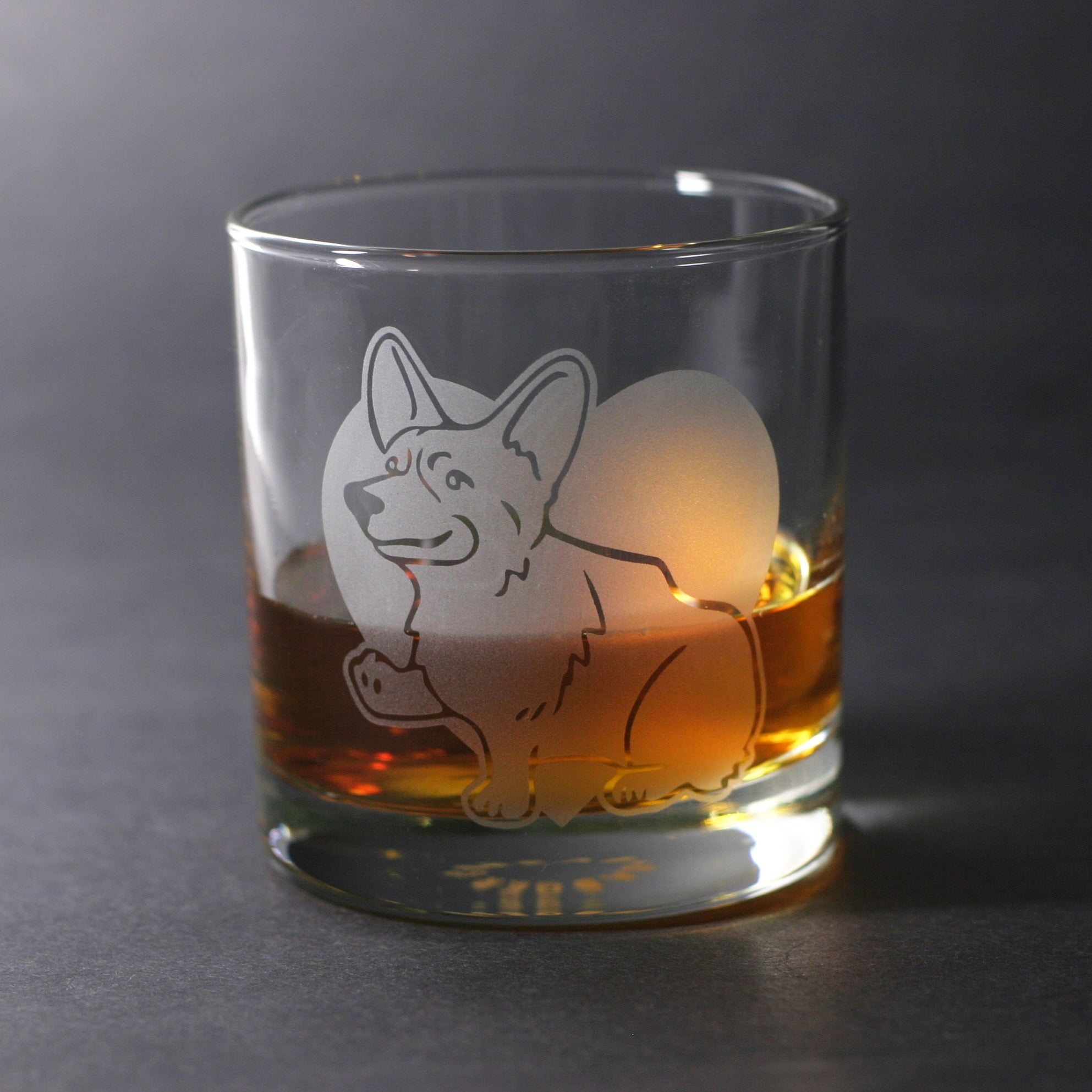 Corgi dog lowball glass by Bread and Badger