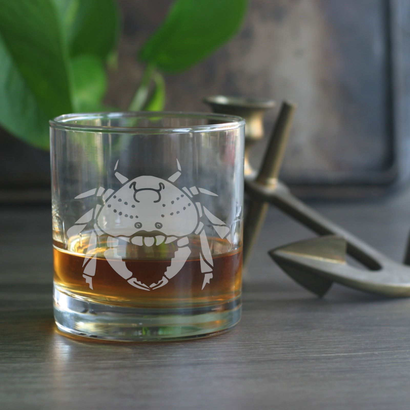 Dungeness Crab lowball glass by Bread and Badger