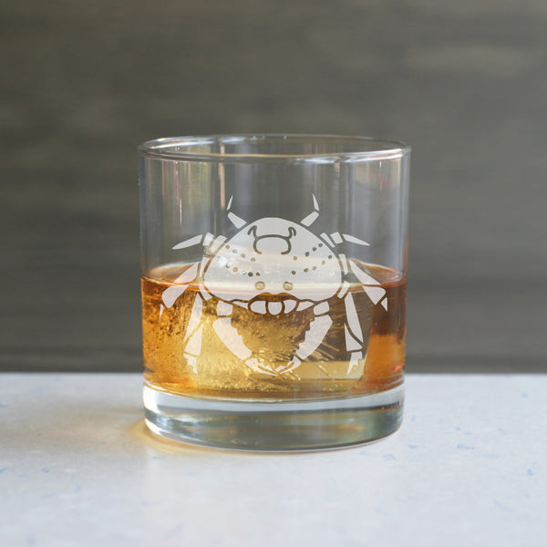 Crab etched lowball glass by Bread and Badger