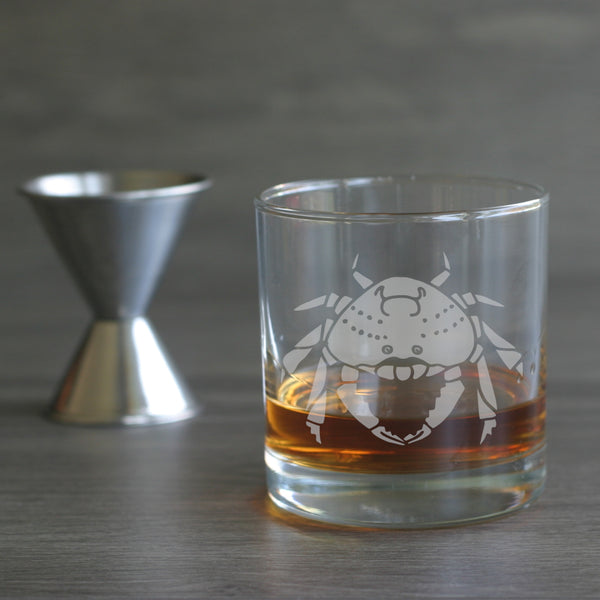 Crab lowball glass by Bread and Badger