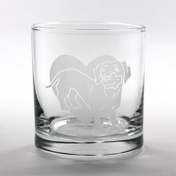 Dachshund (weiner dog) lowball glass by Bread and Badger