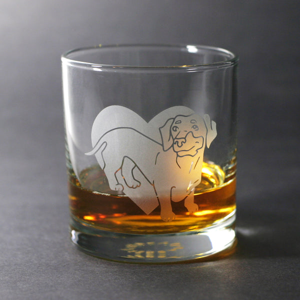 Dachshund (doxie) lowball glass by Bread and Badger