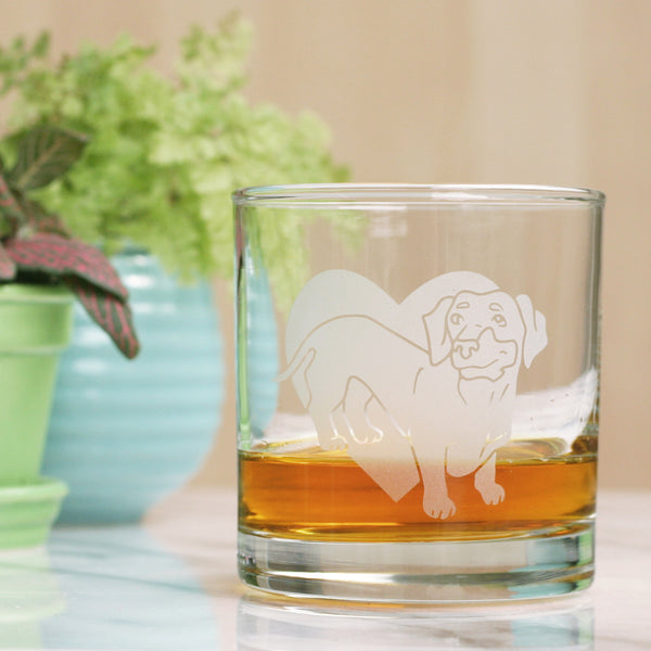 Dachshund etched lowball glass