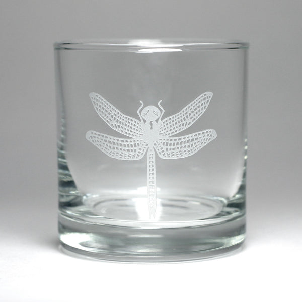 Dragonfly lowball glass