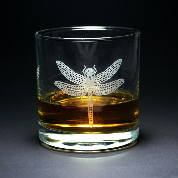 Dragonfly etched lowball glasses