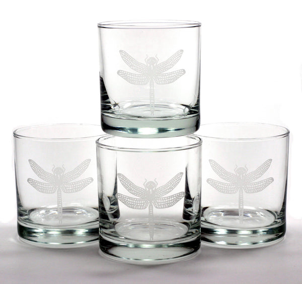 Dragonfly lowball glasses set of 4