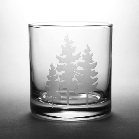 Family of Trees etched lowball glass