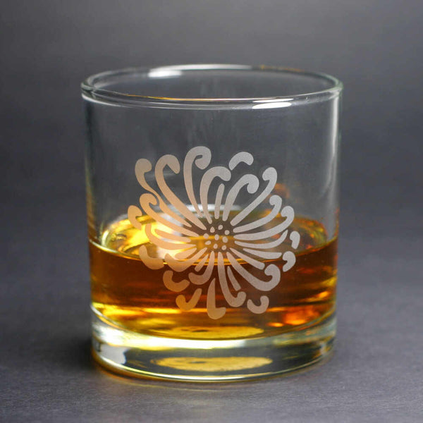Chrysanthemum Flower lowball glass by Bread and Badger