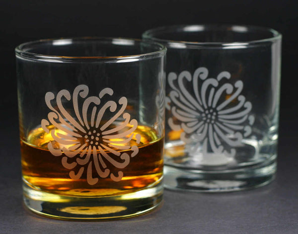 Flower lowball glasses by Bread and Badger