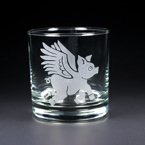 Flying Pig lowball glass