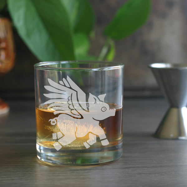 Flying Pig with wings lowball glasses