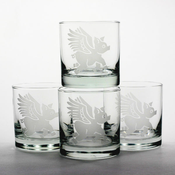 flying pig lowball glass set of 4