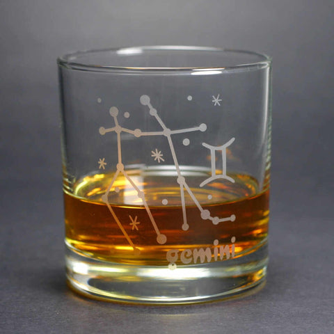 Gemini Zodiac Constellation Lowball Glass