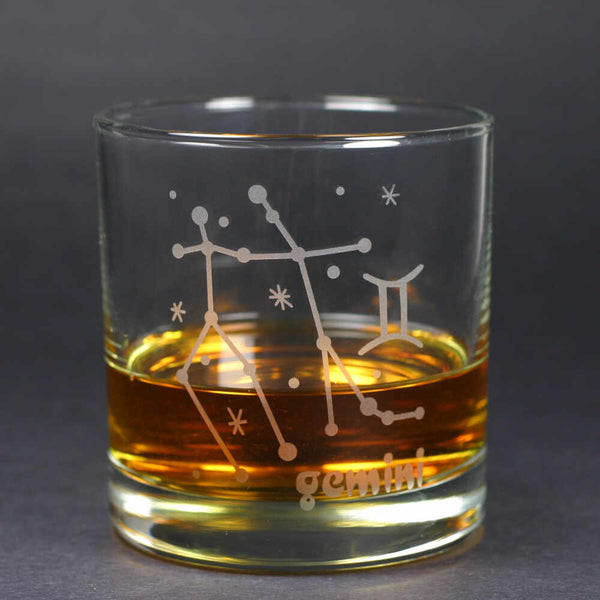 gemini zodiac lowball glass by Bread and Badger