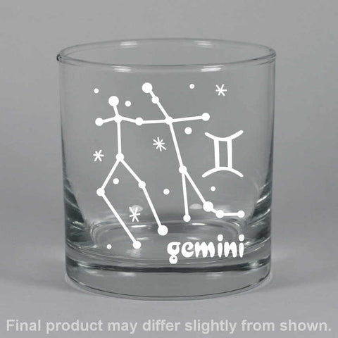 gemini constellation lowball glass, by Bread and Badger