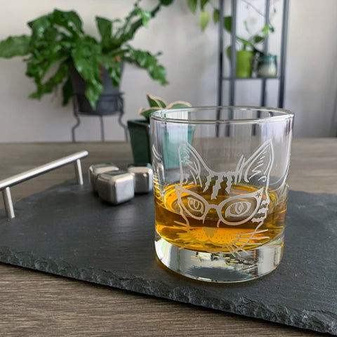 Glasses Cat double old fashioned glass by Bread and Badger