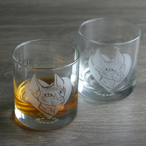 Hairless Cat etched lowball glasses by Bread and Badger
