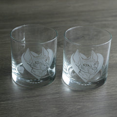 Hairless Cat etched cocktail glasses by Bread and Badger