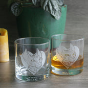 Sphynx Cat etched lowball glasses by Bread and Badger