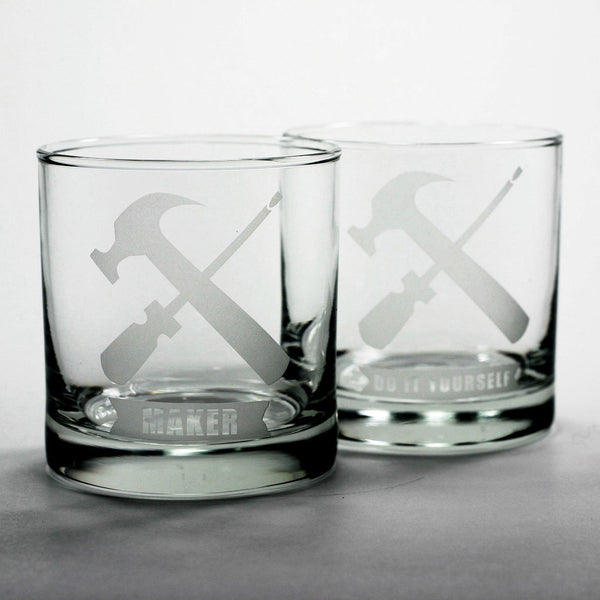 handyman etched DIY lowball glasses