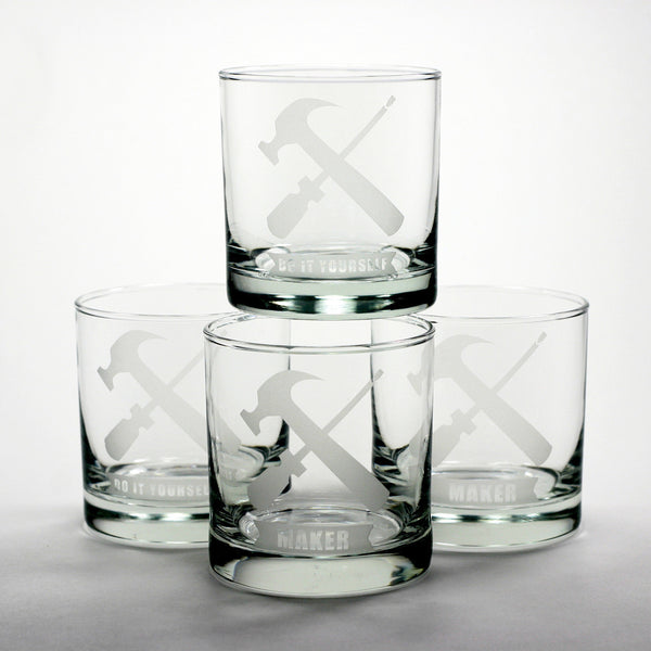 handyman tools scotch whiskey glasses
