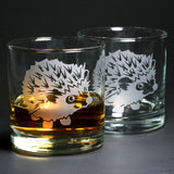 Set of 2 Hedgehog etched lowball whisky glasses