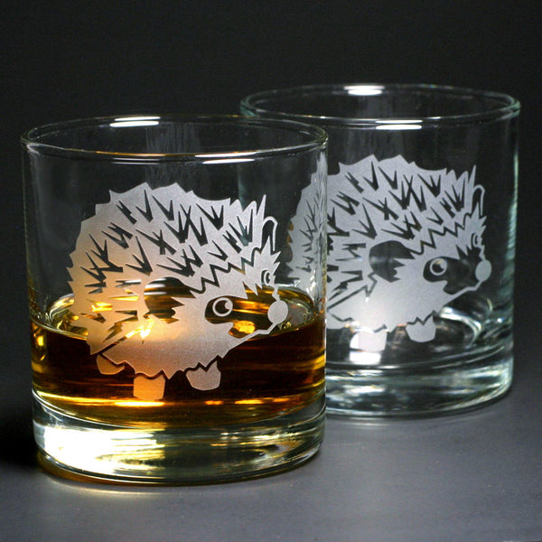 Hedgehog engraved lowball glasses