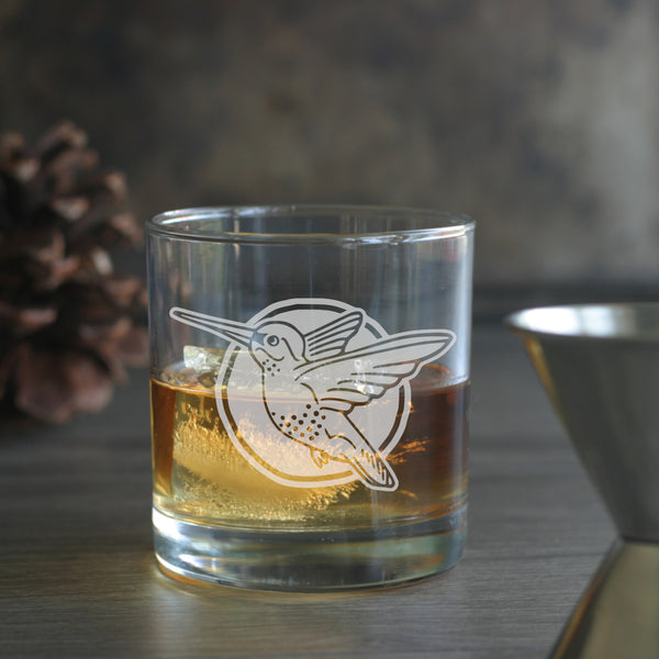 Hummingbird whiskey glass by Bread and Badger