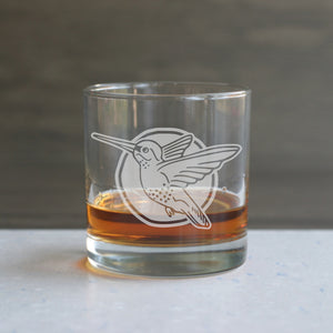 Hummingbird etched lowball glass by Bread and Badger